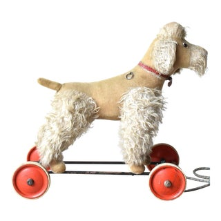 Antique Steiff Poodle Large Pull Toy on Wheels For Sale