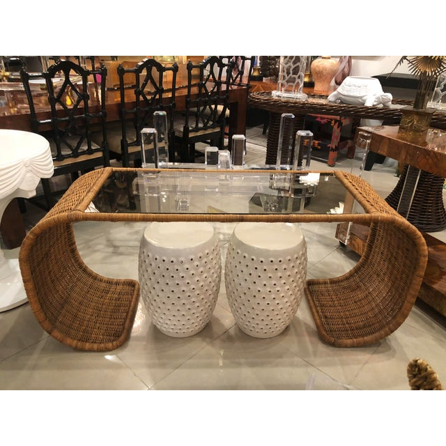 Vintage Scroll Natural Wicker Console Table For Sale - Image 9 of 13