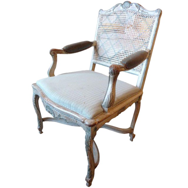 18th Century Painted Cane-Back Armchair For Sale