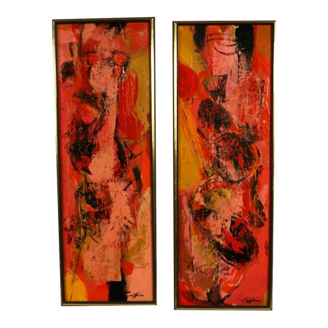 "Mid Century Abstract Expressionist Oil paintings signed ""Griffin"" - a Pair For Sale"