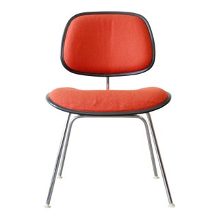 Eames for Herman Miller DCM Chair with Orange Wool Upholstery For Sale