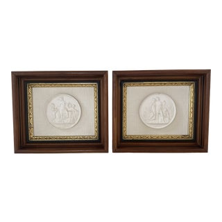 Antique Plaster Intaglio Plaque Framed in Antique Walnut and Gilt Frames - a Pair For Sale