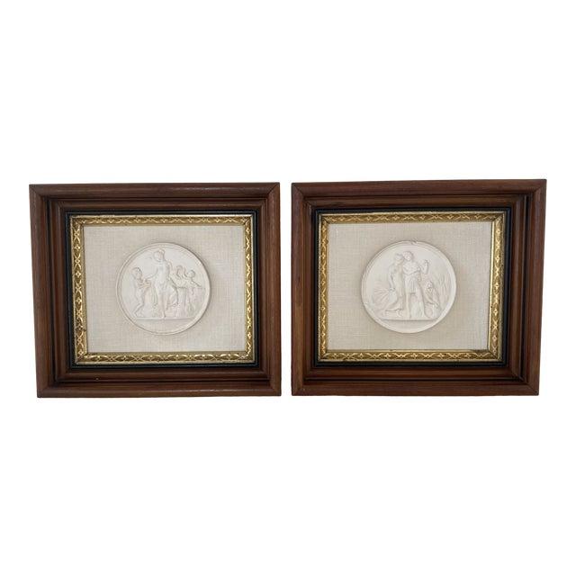 Antique Plaster Intaglio Plaque Framed in Antique Walnut and Gilt Frames - a Pair For Sale