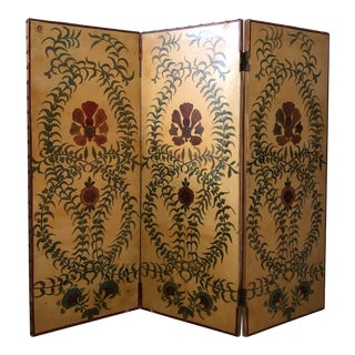 3 Pannel Painted Screen Linen-Backed From France For Sale