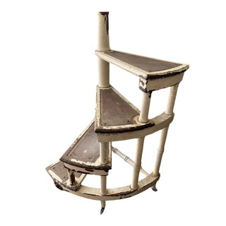 20th Century Shabby Chic White Wash Wood Spiraling Staircase For Sale