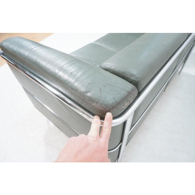 Animal Skin Mid-Century Modern Chrome and Teal Leather Love Seat and Club Chair - 2 Pieces For Sale - Image 7 of 9