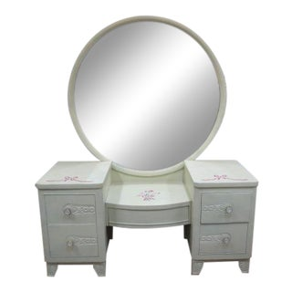 1930s Cottage Painted Vanity With Large Round Mirror For Sale