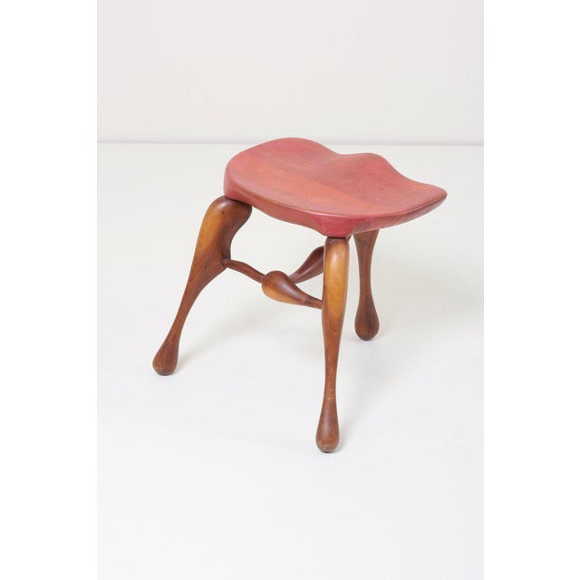 1950s Studio Craft Wooden Stool by Ron Curtis, Us, 1950s For Sale - Image 5 of 8