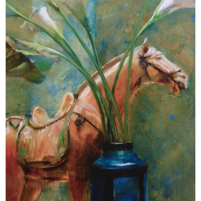 Blue Vase & Horse Statue Framed Glicée Print - Image 2 of 3