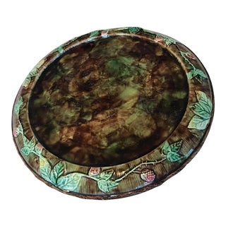 English Majolica Cheese Plate For Sale