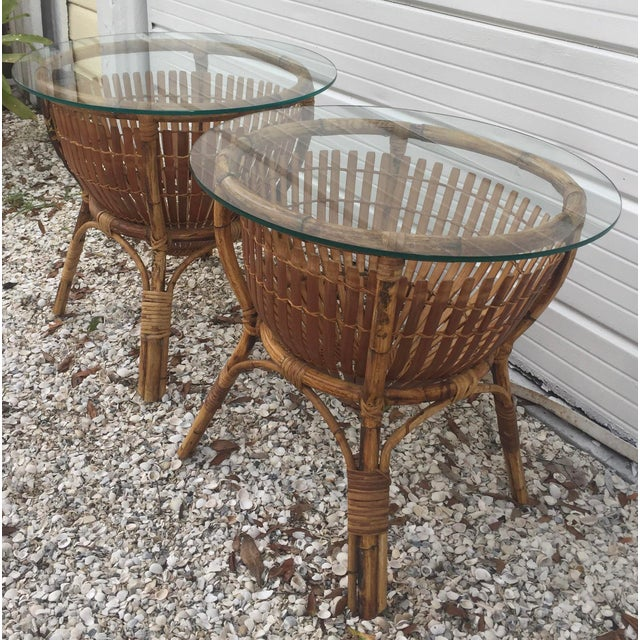 Vintage Rattan Fish Basket Tables -- A Pair - Image 6 of 6