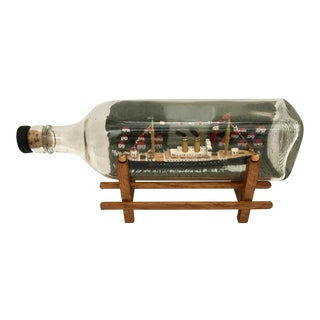 1970s Ship in Bottle With Stand - a Pair