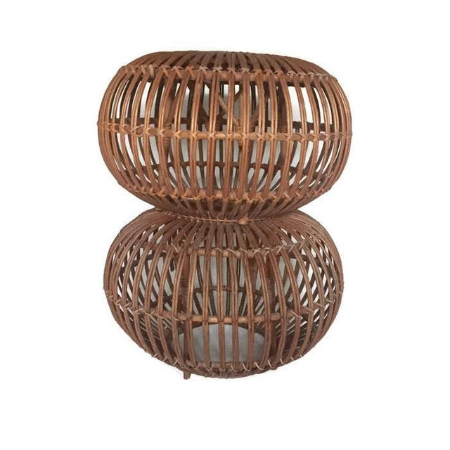 "Mid Century Modern Side Tables Albini Rattan Ottomans 24"" - A PAIR For Sale In Richmond - Image 6 of 12"