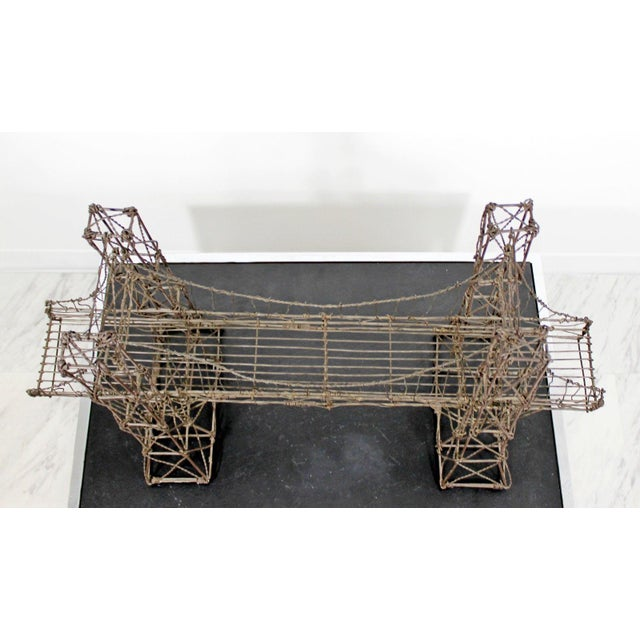 Brown Mid Century Modern Vintage Brutalist Wire Bridge Table Sclupture For Sale - Image 8 of 10