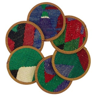 Rug & Relic Rabia Kilim Coasters - Set of 6 For Sale