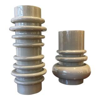 Storm Grey Ceramic Vases - A Pair