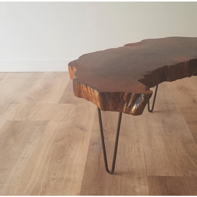 Brown 1960s Mid-Century Modern Live Edge Half Moon Side Table For Sale - Image 8 of 10