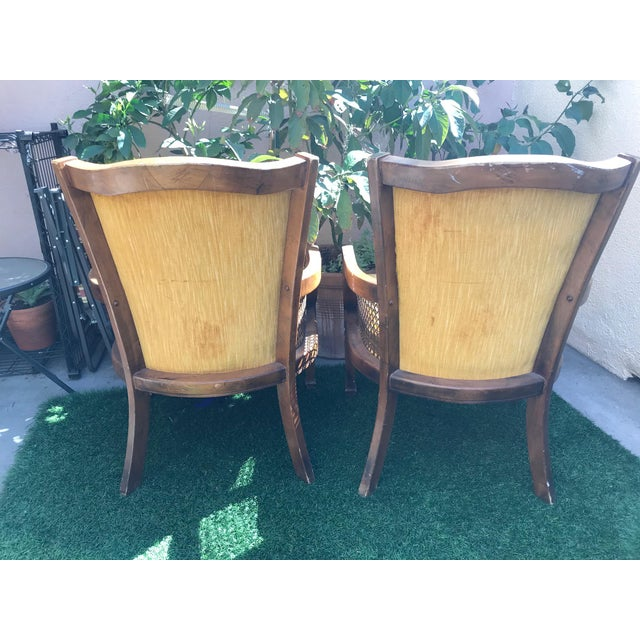 French Velvet Tufted Cane Chairs - A Pair - Image 3 of 4