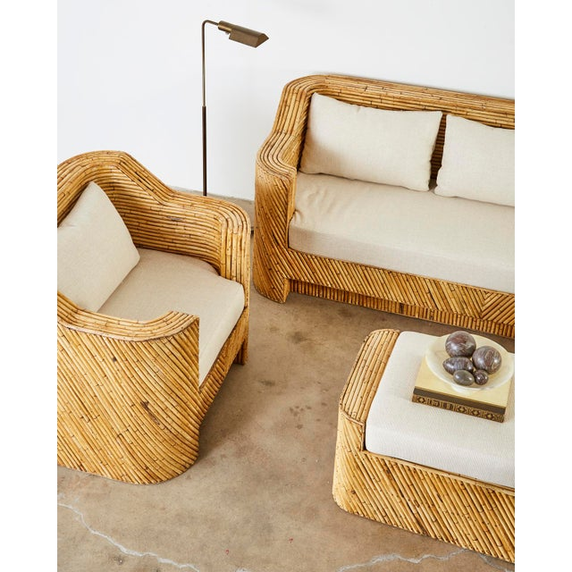 Wood Pair of Gabriella Crespi Inspired Bamboo Rattan Lounge Chairs and Ottoman For Sale - Image 7 of 13