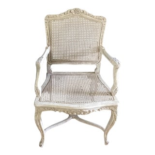 Vintage French Provincial Cane Armchair For Sale