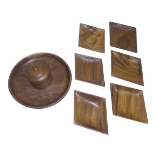 Mid-Century Wooden Serving Set - 9 Pc. Set For Sale