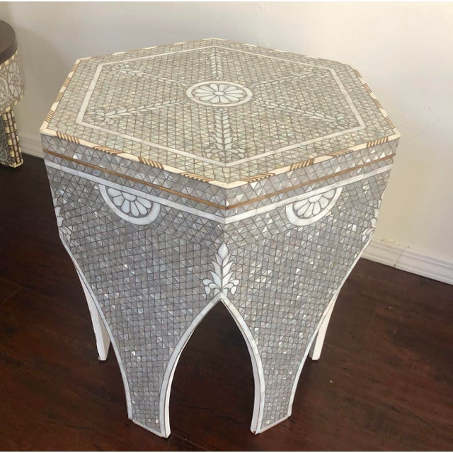 Islamic Contemporary Mother of Pearl Inlay Hexagonal Side Table For Sale - Image 3 of 8