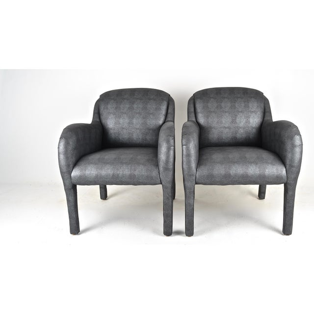 Fabric Pair of 1980s Armchairs in Metallic Faux Shagreen For Sale - Image 7 of 10
