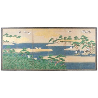 Japanese Edo Screen Hamamatsu Pine Shore With Cranes For Sale