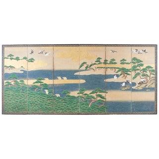 Japanese Edo Screen Hamamatsu Pine Shore With Cranes For Sale