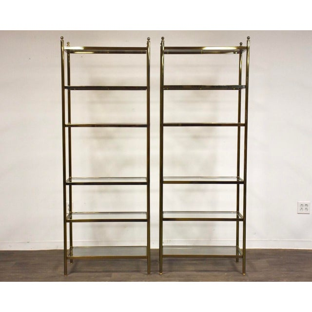 Hollywood Regency Style Brass Etageres- a Pair For Sale - Image 11 of 11