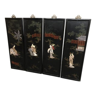 1960s Vintage Japanese Plaques - Set of 4 For Sale
