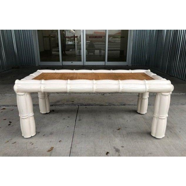 Ceramic 1950s Italian Palm Beach Style Blanc De Chine Terracotta Faux Bamboo Table For Sale - Image 7 of 7