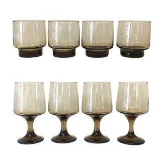 1970's Amber Smoked Glass Wine and Lowball Glasses - Set of 8