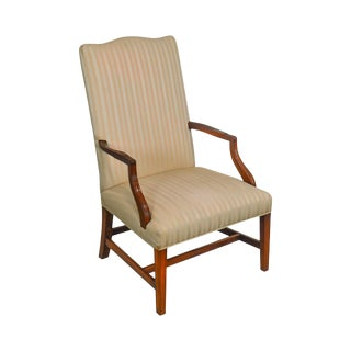 Hickory Chair Chippendale Style Mahogany Library Lolling Arm Chair For Sale