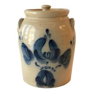 Lidded Salt Glazed Storage Pot With Cobalt Blue Floral Motif - Vintage For Sale