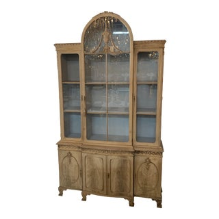 19th Century English Bleached Mahogany Carved Display Cabinet For Sale