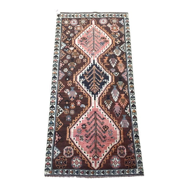 1970s Vintage Shiraz Brown and Rose Pink Rug - 3′8″ × 7′6″ For Sale
