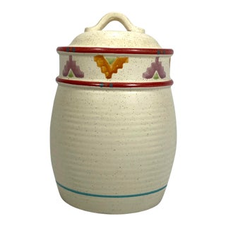 Southwestern Stoneware Kitchen Canister For Sale