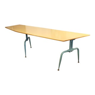 1950s French Laminated Plywood and Steel Adjustable Table For Sale
