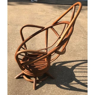 Mid Century Boho Chic Bamboo & Rattan Swivel Clam Chair Preview