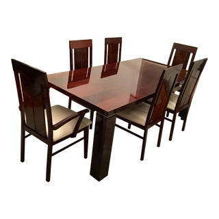Modern Italian High Gloss Lacquer Alf Dining Set- 7 Pieces For Sale