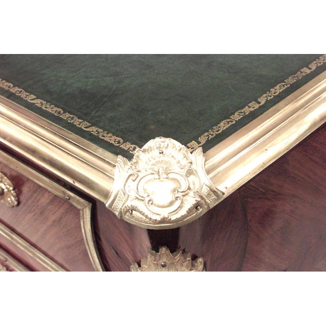 19th Century French Louis XV Style Bronze-Trimmed Kingwood Desk For Sale - Image 4 of 8