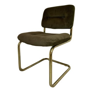 Mid Century Modern Brass Cantilever Chromcraft Chair For Sale