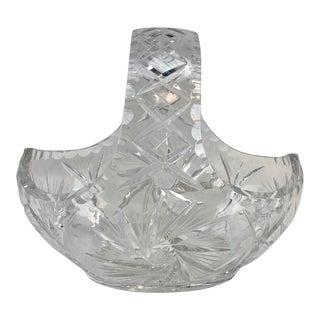 American Brilliant Crystal Basket For Sale