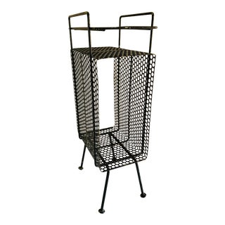 Mid-Century Modern Perforated Atomic Metal Black Magazine Holder Side Table Telephone Stand For Sale