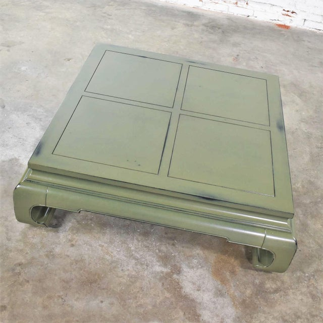Monumental Square Asian Ming Style Lacquered Coffee Table in Sage Green For Sale - Image 6 of 13