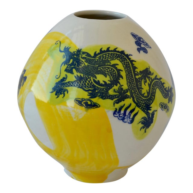 Contemporary Ceramic Small Green Dragon Moon Vase For Sale