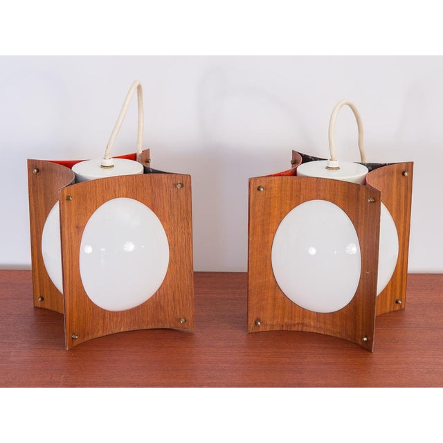Mid-Century Modern 1960s Concave Mid-Century Globe Pendants- A Pair For Sale - Image 3 of 9