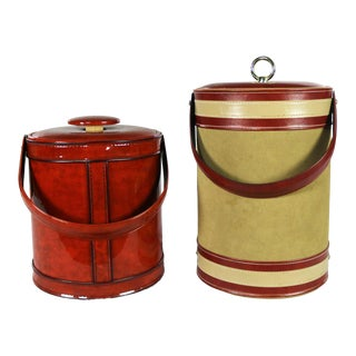 Vintage Ice Buckets Signed George Briard Burnt Orange Vinyl & Tan & Rust Faux Leather Your Choice For Sale