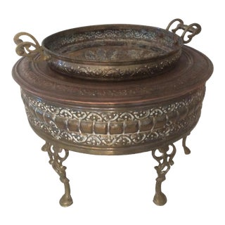 Antique Middle Eastern Brass/Copper Brazier For Sale